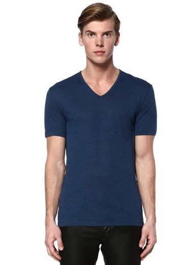 John Varvatos Star USA V Yaka Tişört Mavi